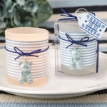 Blue Teddy Bear Themed Frosted Glass Votive Favors