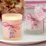 Pink Teddy Bear Themed Frosted Glass Votive Favors