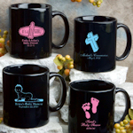 Personalized Baby Shower Black Mug
