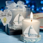 Blue & White Sailboat Votive Candle Favors