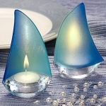 Blue Sailboat Baby Shower Favor Candle Holders