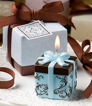 Blue and Chocolate Damask Candle Box Favors imagerjs