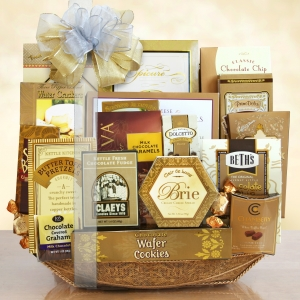 Visions of Sugarplums Gold Gourmet Holiday Basket imagerjs