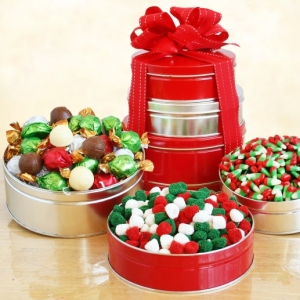 Silver and Red Christmas Candy Tower Gift imagerjs