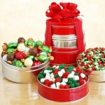 Silver and Red Christmas Candy Tower Gift