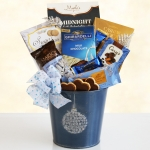 Blue Holiday Ornament Tin of Gourmet Treats