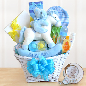 Rocking Baby Gift Basket (Blue or Pink) imagerjs