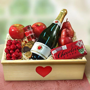 Sparkling Cider and Fruit Valentine Crate imagerjs
