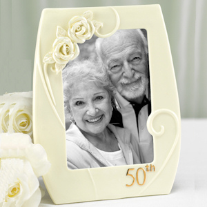 50th Porcelain Frame with Roses imagerjs