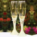Pearl Rose 50th Anniversary Champagne Flutes