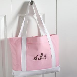 Personalized Pink & White Canvas Tote imagerjs