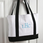 Personalized White & Black Canvas Totes