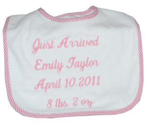 Personalized 'Just Arrived' Bib imagerjs