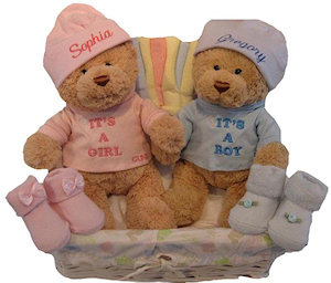Personalized Beary Sweet Twins Basket imagerjs
