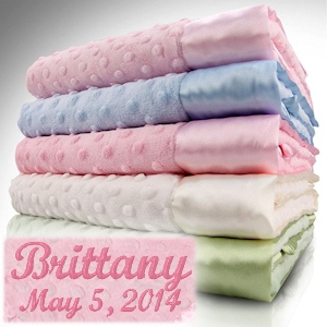 Personalized Minky Dots Plush Baby Blankets (3 Colors) imagerjs