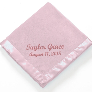 Personalized Luxurious Plush Pink Baby Blanket imagerjs