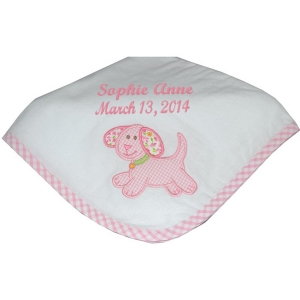 Personalized Pink Puppy Receiving Blanket imagerjs