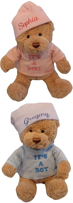 Its A Boy or Its A Girl Bear with Personalized Hat imagerjs