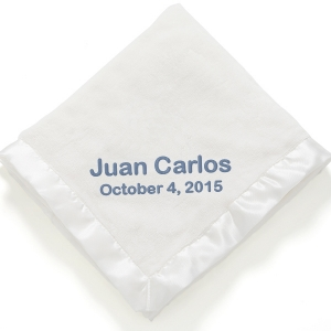 Personalized Super Plush White Baby Blanket imagerjs