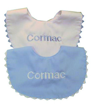 Personalized Blue and White Bib Set imagerjs