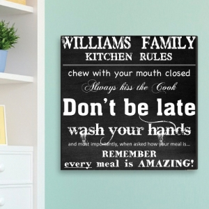 Personalized Kitchen Rules Canvas Print imagerjs