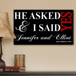 Personalized He Asked Wedding Canvas Print imagerjs