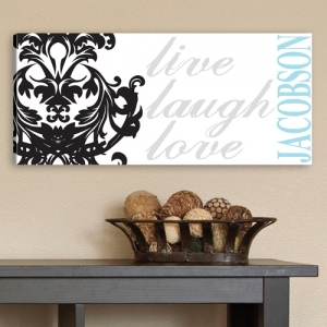 Personalized Damask Live Laugh Love Canvas Print imagerjs