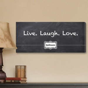 Personalized Blackboard Live Laugh Love Canvas Print imagerjs
