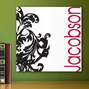 Personalized Black and Red Flourish Canvas imagerjs
