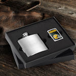 Personalized Flask and NFL Zippo Lighter Set (10 Designs)