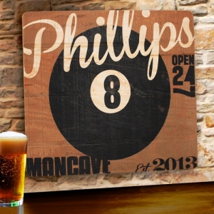 8-Ball Personalized Wood Tavern & Bar Sign imagerjs