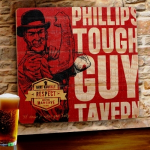 Personalized Tough Guy Tavern Wood Sign imagerjs