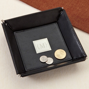 Monogrammed Leather Coin Tray imagerjs