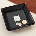 Monogrammed Leather Coin Tray