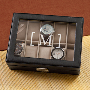 Monogrammed Leather Watch Case imagerjs