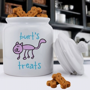 Personalized Ceramic Cat Treat Jar imagerjs