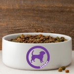 Personalized Circle of Love Silhouette Dog Bowl (40 Designs)