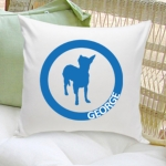 Circle Silhouette Personalized Dog Throw Pillow (40 Designs)