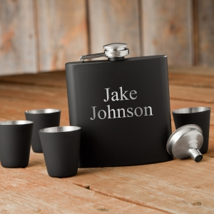Personalized 6oz Matte Black Flask & Shot Glass Gift Set imagerjs