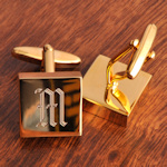 Monogrammed Brass Square Cufflinks