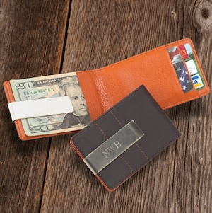 Personalized Leather Combo Wallet-Money Clip imagerjs