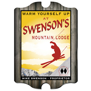Personalized Vintage Ski Lodge Pub Sign imagerjs