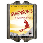 Personalized Vintage Ski Lodge Pub Sign