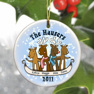 Personalized Reindeer Family Ornament (3 Sizes) imagerjs