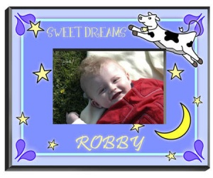 Personalized Cow Jumping Over the Moon Frame (Boy) data-pin-no-hover=