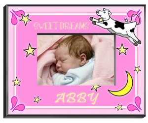 Personalized Cow Jumping Over the Moon Frame (Girl) image