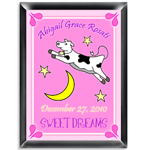 Personalized Cow Jumping Over the Moon Sign (Girl) imagerjs