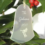 Personalized Glass Bell Christmas Ornament (15 Designs)