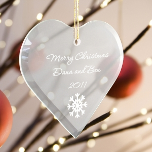 Personalized Glass Heart Christmas Ornament (15 Designs) imagerjs