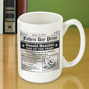 Personalized Fathers Day Headline Coffee Mug imagerjs